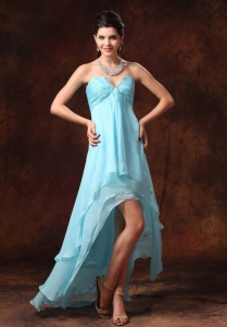 Auqa Blue High-low Chiffon V-neck Pageant Dresses Beading