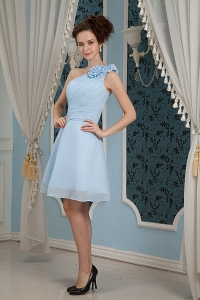 Baby Blue Prom Homecoming Dress One Shoulder Mini-length