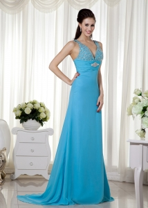 Baby Blue Column Pageant Evening Dress Brush Train