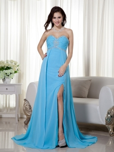 Brush Train Pageant Evening Dress Baby Blue Beading Ruch