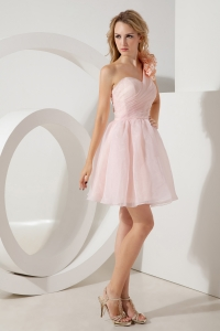 Baby Pink Prom Homecoming Dress One Shoulder Mini Ruched