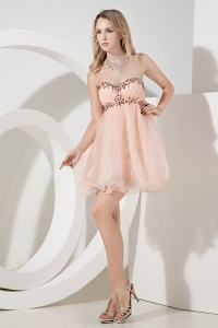 Prom Homecoming Dress Baby Pink Sweetheart Mini-length Beading