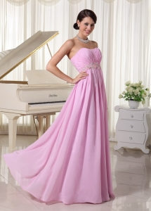 Baby Pink Sweetheart Maxi/Celebrity Dress Ruched Appliques