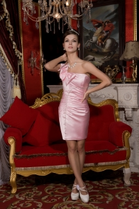 Baby Pink Prom Homecoming Dress One Shoulder Beading