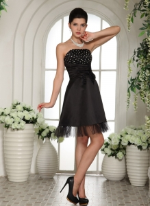 Beaded Little Black/Cocktail Dress Strapless Mini-length