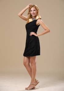 One Shoulder Mini-length Black and Gold Ruched Prom Dresses