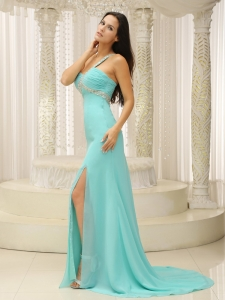 Beaded One Shoulder Ruched High Slit Prom Pageant Dress