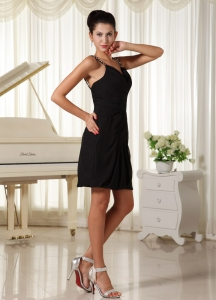 Beaded Straps Little Black/Cocktail Dress Mini-length Ruched