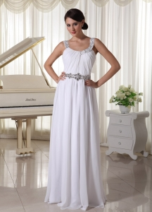 Beaded Prom Maxi Dresses Decorate Straps Waist Chiffon