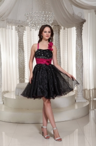 Organza A-line Floral Prom Little Black Dresses