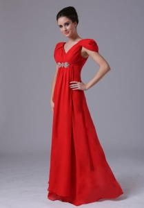 Beading Maxi Pageant Dresses Empire Chiffon Red