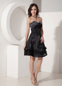 BSweetheart Mini-length Organza Beading Prom Little Black Dress