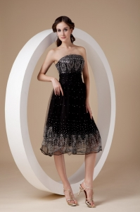 Strapless Tea-length Embroidery Prom Little Black Dress