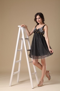 Black Straps Mini-length Organza Beaded Prom Little Black Dress