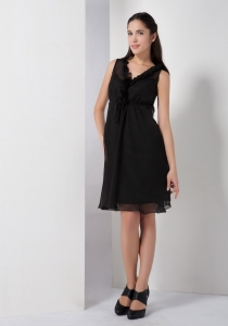 Black V-neck Little Black Cocktail Dresses Chiffon