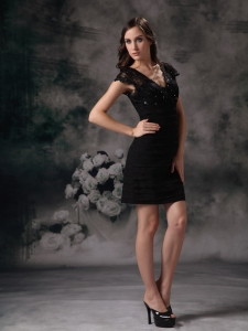 Prom Little Black Dresses V-neck Mini-length Chiffon Lace