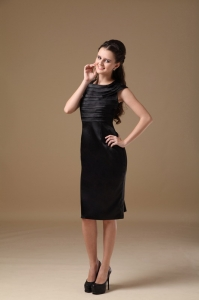 Prom Little Black Dresses Scoop Knee-length Taffeta Ruch