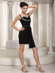 Chiffon Little Black/Homecoming Dress Straps Mini-length Beading