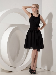 Black Scoop Knee-length Chiffon Little Black/Holiday Dresses
