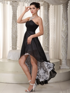 Black Ruched Prom Dress Sweetheart Chiffon and Lace High-low
