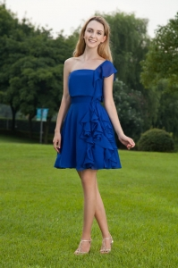 Blue One Shoulder Graduation Cocktail Dress Mini-length Chiffon