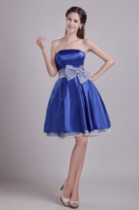 Blue Prom Graduation Dress Strapless Short Taffeta Bowknot