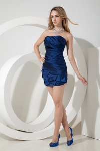 Royal Blue Strapless Prom Homecoming Dress Mini-length Satin Ruch