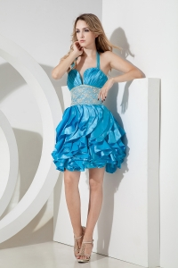 Teal Prom Homecoming Dress Halter Taffeta Lace Mini-length