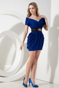 Royal Blue V-neck Prom Homecoming Dress Mini-length Beading