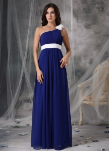 Blue and White Maxi/Pageant Dresses One Shoulder Chiffon