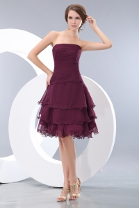 Burgundy Short Graduation Homecoming Dress Chiffon Layers