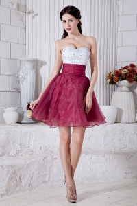 White Red Sweetheart Organza Beading Graduation Dress