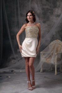 Champagne Nightclub/Cocktail Dress Satin Beading and Ruch