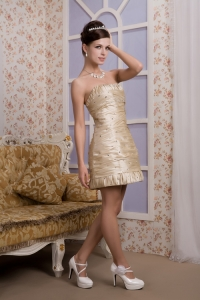 Champagne Mini-length Beading Ruch Prom Homecoming Dress