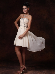 Champagne Asymmetrical Sweetheart Prom Homecoming Gowns