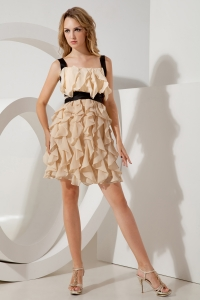 Champagne Straps Ruffles Prom Homecoming Dress Mini-length