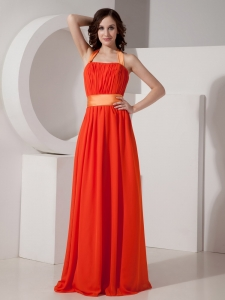 Coral Empire Halter Chiffon Maxi/Evening Dresses