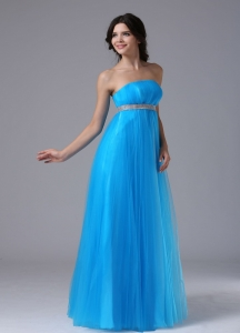 Blue and Belt Strapless Ruchings Maxi/Pageant Dresses