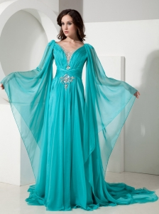 Maxi/Celebrity Dress Turquoise V-neck Chiffon Beading Court Train