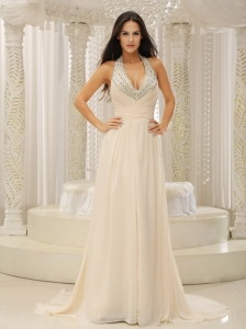 Beaded Halter Top Pageant Evening Dress Ruched Champagne