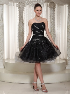 Beading A-line Organza Prom Little Black Dresses