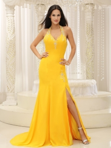 Prom Pageant Dress High Slit Halter Top Yellow Chiffon