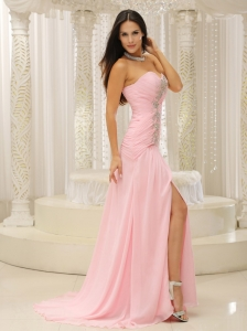 High Slit Ruched Pageant Evening Dress Beaded Baby Pink