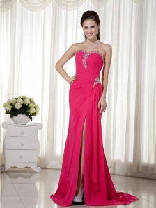 Hot Pink Sweetheart Pageant Evening Dress Brush Train Beaded