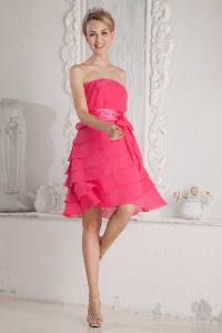Hot Pink Prom Graduation Dress Empire Strapless Chiffon