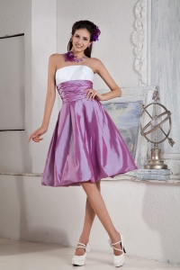 Lavender Knee-length Taffeta Ruch Graduation Holiday Dress
