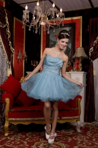 Light Blue Sweetheart Mini-length Organza Prom Homecoming Dress