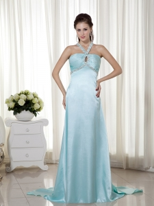 Light Blue Pageant Evening Dress V-neck Brush Train