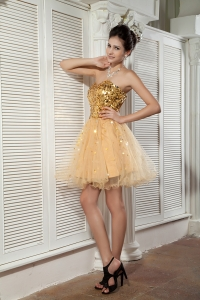 Gold Sweetheart Mini-length Sequins Prom Homecoming Dress