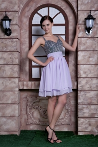 Lilac Spaghetti Straps Knee-length Chiffon Homecoming Dress